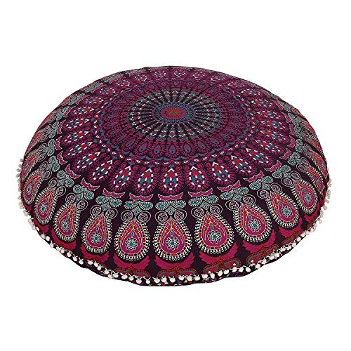 32' Lavender Ombre Floor Pillow Meditation Bohemian Cushion Seating Throw Hippie Decorative Boho Indian Large Ottoman Outdoor Home Decor Cases Round Sham Mandala Cotton Pouf (Lavender) (Cover Only)
