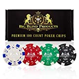 Big Blind Products 100 Piece Premium Poker Chip Set Set for Upscale Vegas-Style Poker Nights - Durable, Poker Chips with Denominations, Casino Weight Chips with Gift Box - Casino Chips