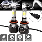 H11 H8 H9 LED Headlight Bulb 24000LM 6000K Plug&Play High Low Beam Fog Light Lamp Conversion Kit with Cob Chips Replacement 6000K Cool White
