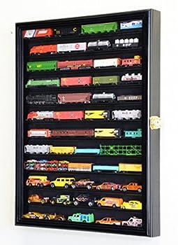 sfDisplay.com,LLC 12 Shelves N Scale Train Model Trains Display Case Cabinet Wall Rack w/ 98% UV Lockable  Black Finish