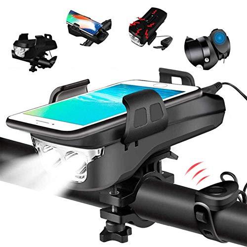 4 in 1 Fahrradlicht, USB Wiederaufladbar LED Fahrradbeleuchtung Set, IP65 Wasserdicht Haben DREI Beleuchtungsmodi Können als Fahradlicht, Handyhalterung, Lautsprecher (4000 mAh) (Black)