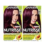 Garnier Nutrisse Nourishing Permanent Hair Color Cream, 362 Darkest Berry Burgundy (2 Count) Red Hair Dye