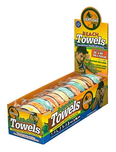 """Beach Travel Towels Lightweight Space Saving Quick Dry Compressed 12 Pack Gift Box 36x60"""" 5oz Lightload Towels"""