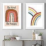 SHKJ Lienzo Pintura Arte de la Pared Arco Iris Dibujos Animados Nursery Posters Imágenes Nueva habitación Regalo Habitación Decoración para el hogar 2 Piezas 70x90cm / 27.5'x35.4 Sin Marco
