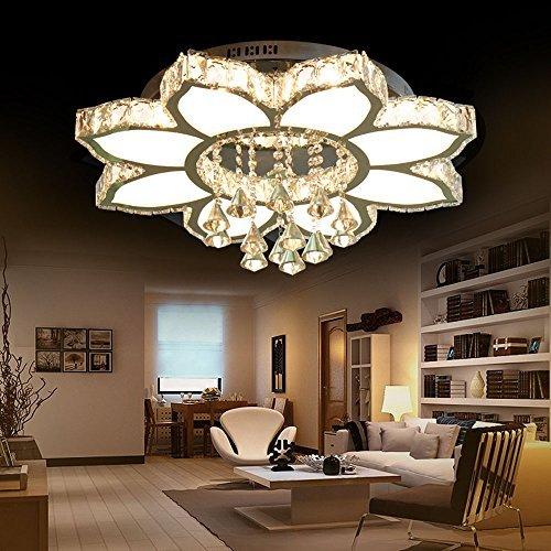 Style home Dekoration Kristal LED Deckenlampe 8 Flammig - Kronleuchte 3 Farben Stufen (Warmweiss, Kaltweiss, Neutralweiss) mit Fernbedienung 66W(56W+10W), 6826-8C-3S