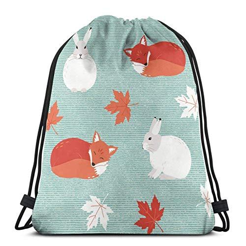 Mochila deportiva de conejos y zorros con cordón para gimnasio, bolsa de viaje para niños, hombres y mujeres