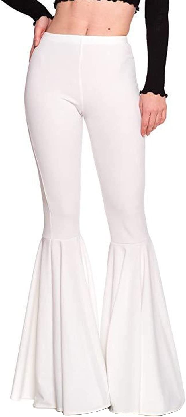 Women's Casual Pleated Flared Pants Ruffle Flare Bottom Mermaid Wide Leg Trousers High Waist Lace Bottoms Casual Pants (Medium,White)