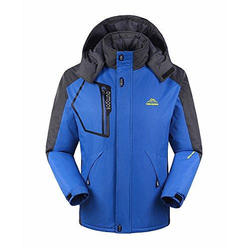 Lixada Veste polaire d'hiver chaude pour homme, coupe-vent & imperméable, veste chaude pour sports de montagne (taille asiatique), Homme, bleu, 2XL(CN)=XL(EU)