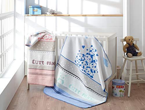 Manta de algodón para bebé de sei Design, manta para gatear, manta de juegos para casa, cuna y cochecito de bebé, muy suave y fácil de limpiar, 90 x 120 cm (dulce panda azul)
