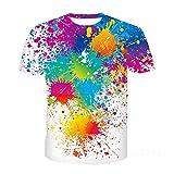 Camiseta Hombres Verano Impresión 3D Cuello Redondo Ropa Calle Creativa Hombres Casual Suelta Contraste Color Creativo Shirt Deportiva Hombres Fiesta Hip Hop Manga Corta Hombres MS232 L
