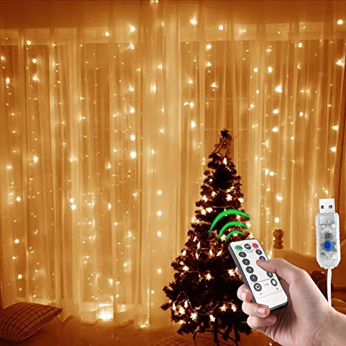 Window Curtain String Lights, 300 LED USB Powered Curtain Lights, 8 Lighting Modes Waterproof Decorative Lights for Wedding Party Home Garden Bedroom Outdoor Indoor Wall, 9.8x9.8 Ft, Warm White
