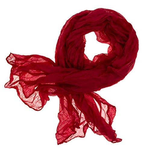 DOLCE ABBRACCIO by RiemTEX Schal Damen CRAZY MAMA Tuch aus MASH in kräftigem Rot Tücher 18 in Unifarben Halstücher Knitter Schals Damen Halstuch leichter Chiffon Ganzjährig (Rot)