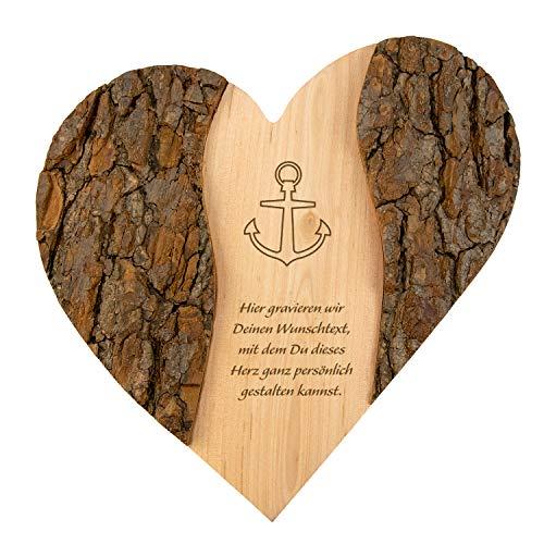 Geschenke 24 Holz Herz Wunschtext mit Anker: personalisierte Deko mit Gravur - Namen und Datum graviert – Geschenkidee zur Hochzeit, Hochzeitsgeschenk, Jahrestag, Valentinstag