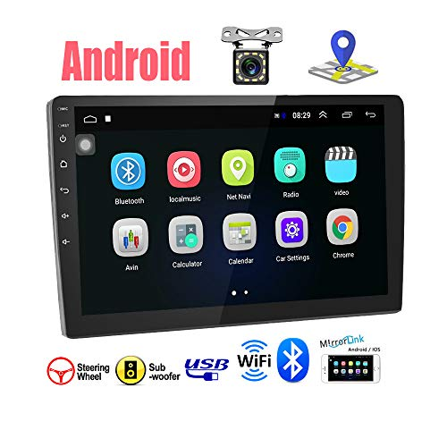 Android 9.1 Autoradio - Podofo Car Stereo Bluetooth 2 DIN 9' HD Touch Screen Supporto GPS Navigation/WiFi/Controllo del volante/Mirrorlink/Radio FM/Doppia USB/Telecamera Posteriore
