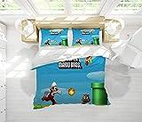 Super Mario Bros - Juego de funda de edredón de 3 piezas, tamaño queen, 100% algodón