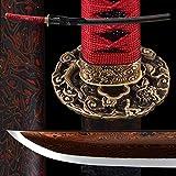 entez Battle Ready Katana Sword Full Tang Samurai Sword,Damascus Folded Steel Red Blade,Copper Fitting,Razor Sharp