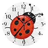 BECCI Cartoon Cute Ladybug, Wall Clock Battery Operated Non-Ticking Round Clock Modern Home Decor Wall Clock Sweep Movement Wall Clock Decorative for Kitchen, Living Room, Bedroom, Bathroom, Office