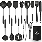 MIBOTE Kitchen Utensils Set, 14 pcs Silicone Cooking Kitchen Utensils Set with Heat Resistant BPA-Free Silicone and Stainless Steel Handle Turner Spatula Spoon Tongs Whisk Cookware Kitchen Tools Set
