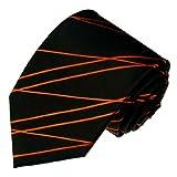 LORENZO CANA - Exklusive Marken Krawatte aus 100% Seide, Schwarz mit Orange Linien - 84520