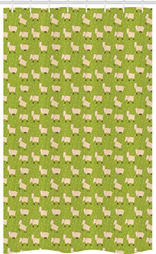 ABAKUHAUS Das Vieh Schmaler Duschvorhang, Ziegen auf grünem Feld, Badezimmer Deko Set aus Stoff mit Haken, 120 x 180 cm, Apfelgrün Beige