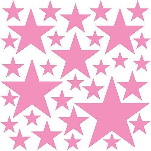 PREMYO 32 Estrellas Pegatinas Pared Infantil - Vinilos Decorativos Habitación Bebé Niña - Fácil de Poner Rosa