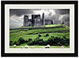F.Mints Castle Landscape Sheep - Art Print Wall Black Wood Grain Framed Picture(20x14inches)