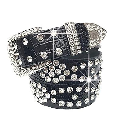 """Black PU Leather Belts for Women,Wemi Luxury Rhinestones Pin Buckle Women belt Female Strap for Jeans Dress, Length 43"""""""