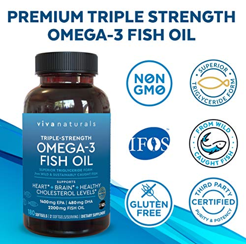 Omega 3 Fish Oil - Omega 3 Supplement with Essential Fatty Acid Combination of EPA & DHA, Triple Strength Wild Fish Oil softgels with No Fish Burps, 180 capsules 6