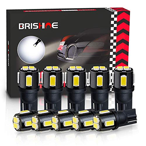 BRISHINE 194 LED Bulbs 6000K Xenon White Extremely Bright 5630 Chipsets 168 2825 175 T10 W5W LED Replacement Bulbs for Car Interior Dome Map Door Courtesy License Plate Lights(Pack of 10)