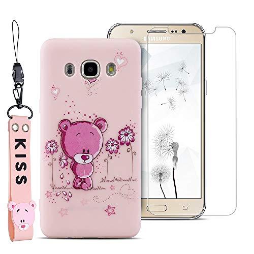SpiritSun ES Funda para Samsung Galaxy J7 2016 J710 + Protectores de Pantalla in Cristal Templado, TPU Soft Silicona Suave Carcasa Case Flexible Original Trasero Protector Case Cover - Oso 1