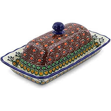 Polish Pottery 8¾-inch Butter Dish made by Ceramika Artystyczna (Cranberry Medley Theme) Signature UNIKAT + Certificate of Authenticity