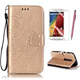 Motorola Moto G 3rd Generation (G3) Case Cover, Gold Flower