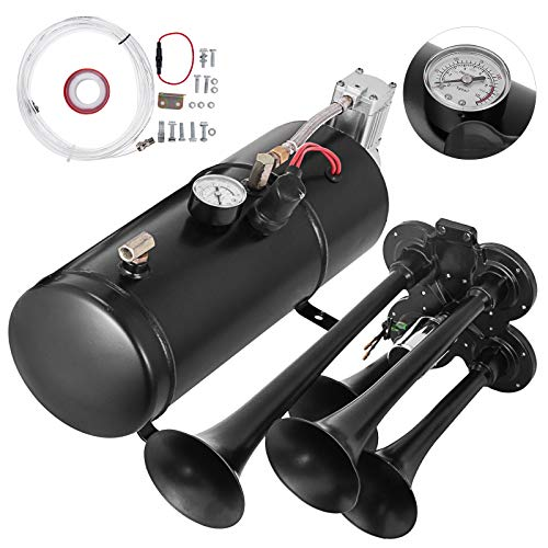 VEVOR 3L Lufthorn Chrome Zink Dual Trumpet, 12V Air Horn Kit Trompetenzug Air Horn Kit, 345x155x165 mm Kompressor mit Zubehör Auto Verwendung