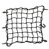 CZC AUTO 15'x15' Black Latex Bungee Cargo Net Strech to 30'x30', Gear Helmet Luggage Netting with 2'X2' Small Mesh and 6 Adjustable Plastic Hooks, for Motorcycle Bike Paddleboard Quad Canoe Moped ATV