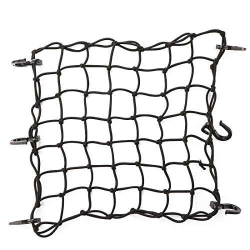 CZC AUTO 15quotx15quot Black Latex Bungee Cargo Net Strech to 30quotx30quot Gear Helmet Luggage Netting with 2quotX2quot Small Mesh and 6 Adjustable Plastic Hooks for Motorcycle Bike Paddleboard Quad Canoe Moped ATV