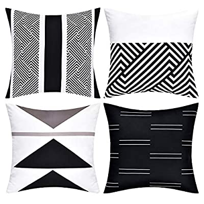 Multiple Geometric Pattern Black and White Accent Pillow Cover Set