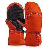 YASSUN Unisex Adult Waterproof Winter Snow Mittens, Sports Warmer Mitten Gloves for Kids, Babies, in Ski, Skateboard, Snowman, Breathable, Ripstop Fabric Mittens (7-8years), Large