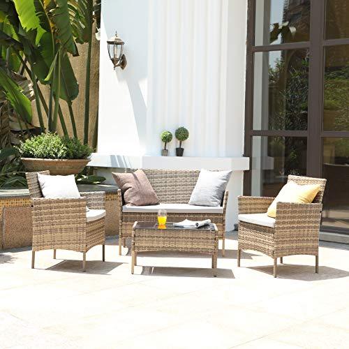TMEE Rattan Gartenmöbel 4-teiliges Lounge-Set, Terrassenmöbel, Balkonmöbel, einschließlich 2 Sesseln, 1 Doppelsitzsofa und 1 Tisch in Schwarz, Mix Grey, Vintage Braun (Vintage Braun)