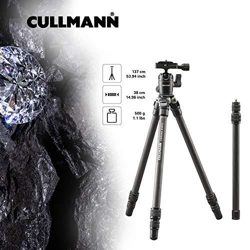 Cullmann Carvao 816TC Treppiede da viaggio in carbonio (altezza massima di estensione 137 cm, dimensioni imballo 38 cm, peso 500g)