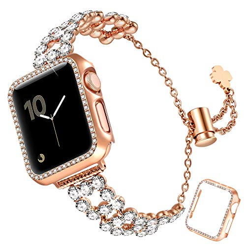 fastgo Bling Band Compatible with Apple Watch 38mm/40mm/42mm/44mm with Case Women, Jewelry Glitter Metal Rhinestone Bracelet Replacement Strap Cover for iWatch SE Series 6/5/4/3/2/1(RoseGold-40mm)