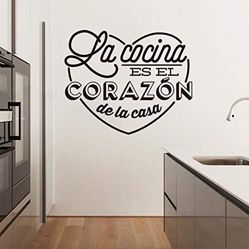 mlpnko Frases en español Pegatinas de Pared Pegatinas de Pared Removibles de Cocina de Restaurante DIY decoración para el hogar Arte de Pared, 57x69 cm