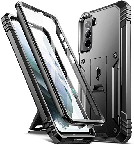Poetic Revolution Case for Samsung Galaxy S21 5G 6.2 inch, Built-in Screen Protector Work with Fingerprint ID, Full Body Rugged Shockproof Protective Cover Case with Kickstand, Black