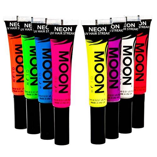 Moon Glow -Neon-UV-Haar-Farbsträhnchen15mlSet mit 8 Farben- Haartönung Haarfarbe - ein spektakulär glühender Effekt bei UV- und Schwarzlicht!