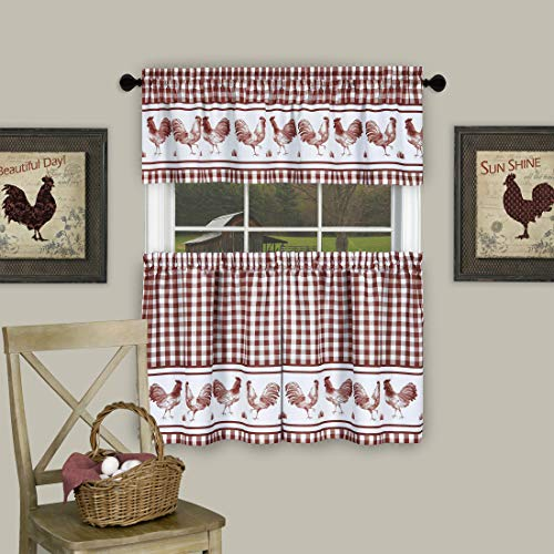 """PowerSellerUSA 3 Piece Kitchen Curtain Set, Gingham Tier Pair and Valance, Country Rooster Decor for Kitchen and Living Room, Buffalo Plaid Curtains, 58"""" W x 36"""" L, Burgundy"""