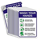 Hand Washing Signs Wash Hand Sign Sticker, 10 Pack 10' x 7' Please Wash Your Hand Sign Decals, Self-Adhesive Vinyl, Employee Hand Washing Sign, Indoor & Outdoor