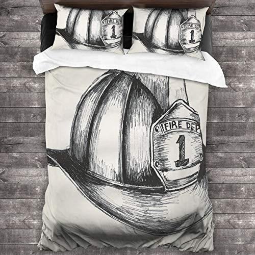 LISNIANY Bedding Bettwäsche,Skizzenartillustration eines Feuerwehrmannsymbols der Feuerwehr,Bequem Bettwäsche 240x260cm mit Kopfkissenbezug 2(50x80cm)