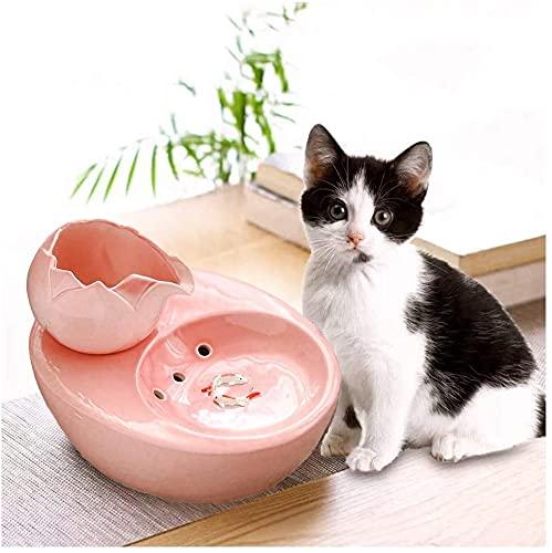 Gatos bebiendo fuente de cerámica fuente de bebida para mascotas, dispensador de agua de gato, fuente para beber para perros florales con filtro, súper línea Tazas de bebidas de agua automáticas