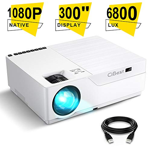 Projector, CiBest Native 1080p Video Projector 4000Lux Outdoor Movie Projector, up to 300