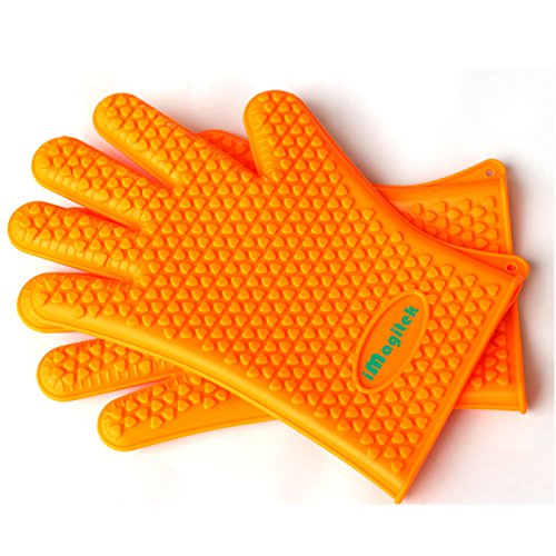 New 2016 Large iMagitek Silicone Oven Mitts Heat Resistant Gloves for BBQ (Small)