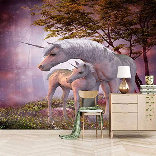 TDYNJJ Wandbild Vlies Fototapete - Tiere Pferde Einhörner Große Bäume - Fototapete Kinderzimmer - Vliestapete Kinder - Vlies-Tapete Kinderzimmer Mädchen - Geschenk Dekoration